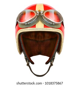 Retro helmet with goggles on a white background. Protective headwear for motorcycle and automobile race.