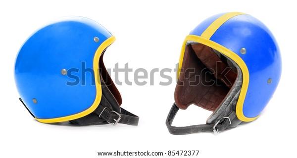 Retro helmet on a white background.