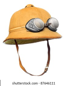 Retro helmet for tropical destination. Isolated on white background.
