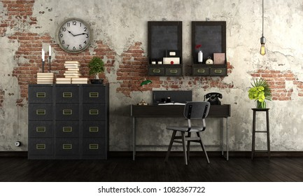 Retro home office with vintage furniture - 3d rendering