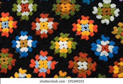 Retro homemade crochet blanket made from Granny Squares
