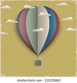 Retro hot air balloon and clouds from paper. Raster version