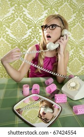 retro housewife telephone woman vintage hysterical surprised gesture
