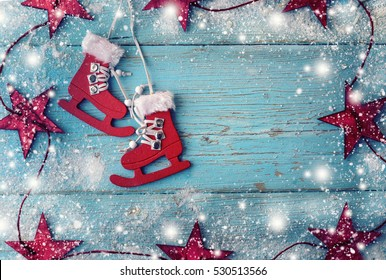 Retro ice skates decoration for christmas tree