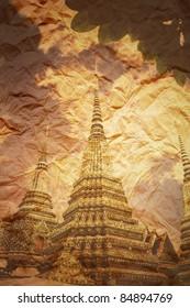 Retro image Demon Thai temple on vintage paper background. grunge Uneven diffuse lighting version. Design component