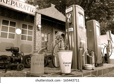 retro image form a fuel tank / pump station