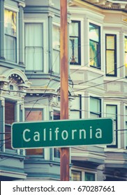 Retro Image Of A Sign On California Street In San Francisco