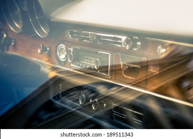 Retro interior of old automobile with reflection