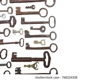 Retro iron door keys isolated on white background with text space
