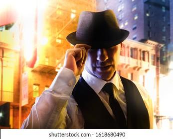 retro italian mafia gangster in 1930's
