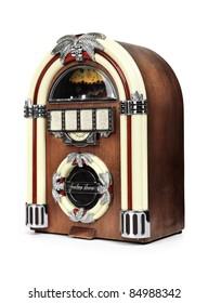 Retro juke box radio isolated on white background