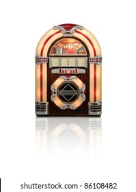 Retro jukebox radio isolated on white background with reflection