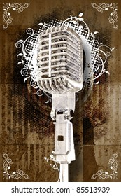 Retro Karaoke Music Event Theme. Cool Sepia Grunge Background with White Floral Ornaments and Cool Retro Microphone. Karaoke Background Design. Copy Ready