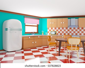 Retro kitchen in cartoon style with checkered floor. 3d illustration.