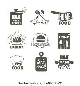 Retro kitchen cooking at home and handmade badges and logos. Home made cooking restaurant logo, illustration of label menu restaurant