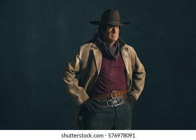 Retro late 1960s western actor. Studio portrait.