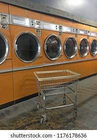 Retro Laundromat with laundry cart