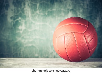 ba5766fe1 Retro leather ball on wooden floor front grunge aged background. Vintage  style filtered photo