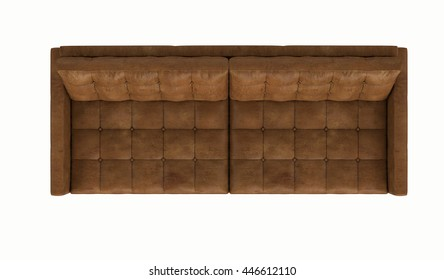 Retro leather sofa isolated on white background , top view