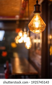 retro light bulb with warm light in a cafe
