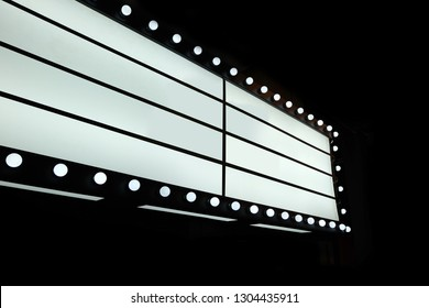 Retro lightbox with customizable design. Classic banner for your projects or advertising. Light banner, vintage billboard or bright signboard. Cinema or theatre light box frame for ads.
