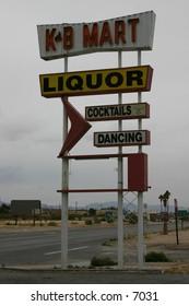 retro liquor store signage