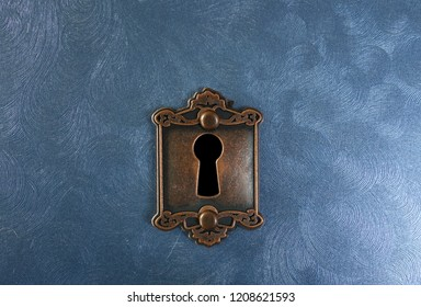 Retro lock on blue textured background