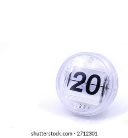 Retro looking calendar date, number or page counter