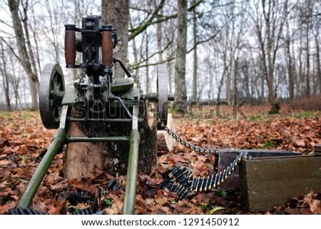 Retro Machine Gun Forest Stock Photo (Edit Now) 1291450912