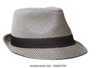 Retro male hat isolated on white background