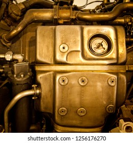 Retro mechanical steampunk background. Turbofan Jet Engine working parts. Pipes and Tubes.