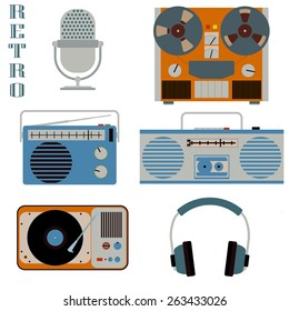 Retro media technology set. Microphone, headphones, radio, gramophone, reel-to-reel tape recorder, media color image, music flat style image, media web icon, media concept for design, retro media art