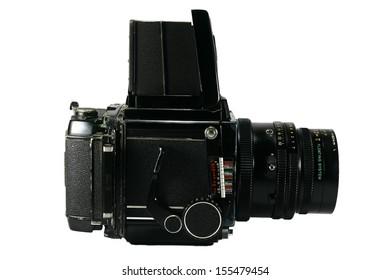 Retro Medium Format Film Camera A photo of a retro medium format film camera on white background