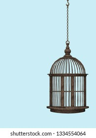 Retro metal vintage cage against pastel blue background