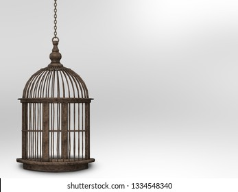 Retro metal vintage cage isolated