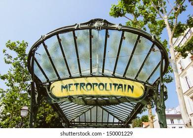 Retro metro sign in Paris, France