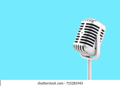 Retro microphone with background and copy space.