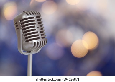 Retro Microphone with bokeh background_This is no SHURE Microphone