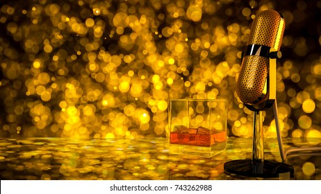 Retro microphone and brandy glass on glass table party concept ,3d render.