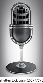 Retro microphone. High resolution 3D image