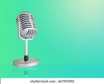 Retro microphone isolated on gray background