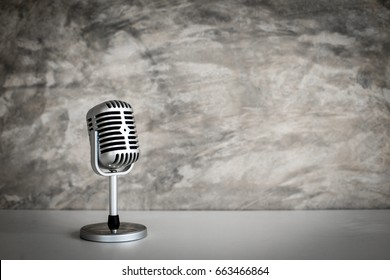 retro microphone on Grunge old background