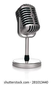 Retro microphone on white