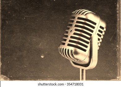 Retro microphone.  Vintage style,  old worn paper photo image