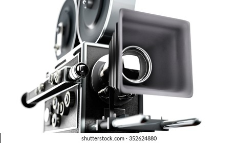 retro movie camera close up