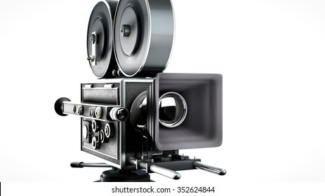 retro movie camera front view