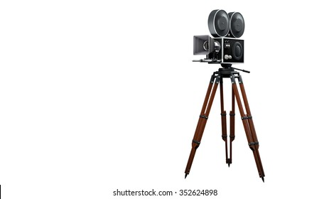 retro movie camera isolated on white