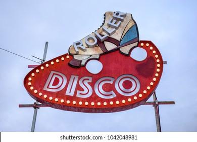 """Retro neon """"Roller Disco"""" sign"""