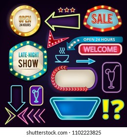 Retro neon signs. Billboards at highway. Empty frames and banners with backlight. Neon billboard vintage retro banner, illustration