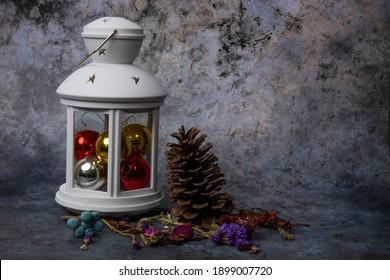 Retro new year lantern, vintage card